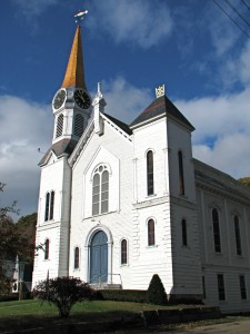 Our church after the steeple and clock renovations.