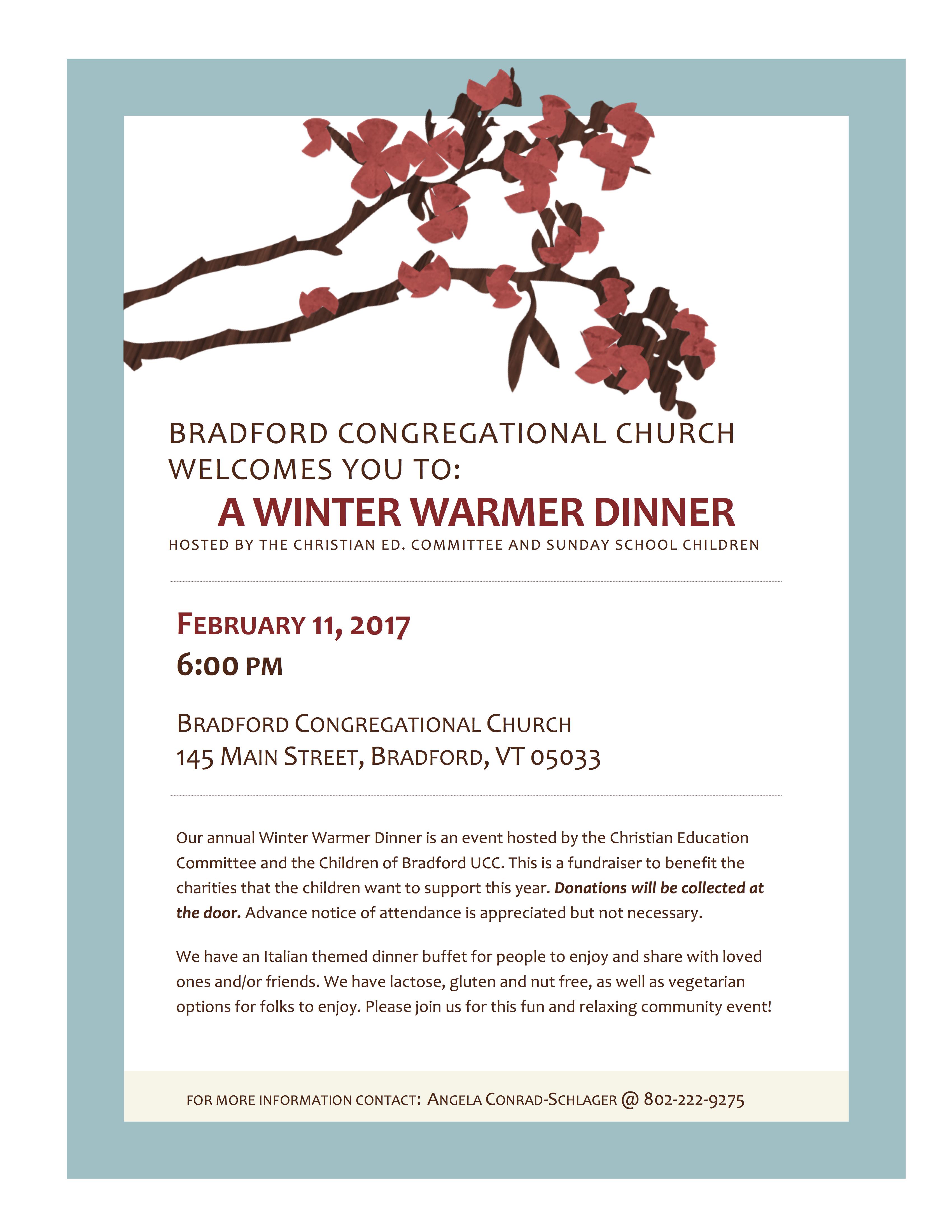 Winter Warmer Dinner 2017 | Bradford UCC