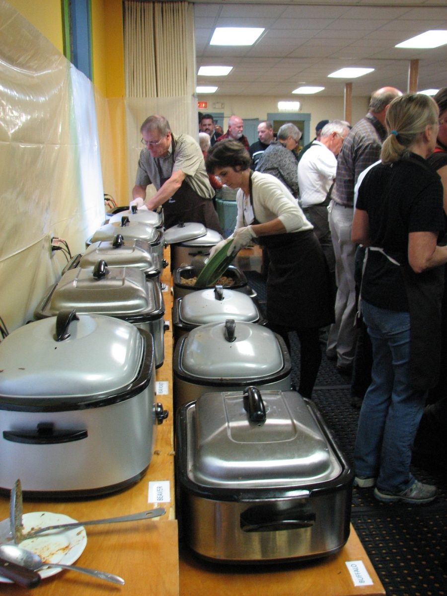 Hot food ready for the buffet